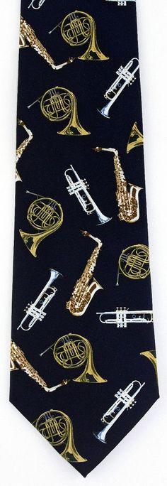 New Brass Section Mens Necktie Trumpet Sax Music Musical Instrument Neck Tie #Parquet #NeckTie