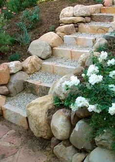 Hottest Photo Rock Garden steps Suggestions Simply, a rock garden—sometimes referred to as a _rockery_—can be an intentional landscape featu Hillside Landscaping, Landscaping With Rocks, Front Yard Landscaping, Landscaping Ideas, Outdoor Landscaping, Landscaping Plants, Landscape Stairs, Landscape Design, Landscape Bricks