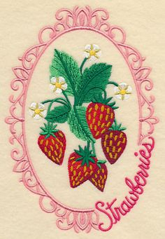 Fruit Cameo - Strawberries design (L9436) from www.Emblibrary.com