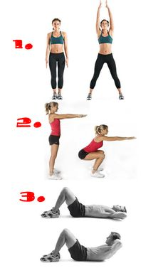 No excuses! 25 jumping jacks 25 squats 25 crunches Repeat 3 times, or more if you like :) ! Crunches, Squats, Gonna Make You Sweat, Jack 2, Curves Workout, Jumping Jacks, Workout Challenge, Repeat, Exercises