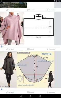 Best 12 Veritas cape poncho pattern and tutorial holiday jacket coat bolero PDF – SkillOfKing.Com Tunic Sewing Patterns, Clothing Patterns, Dress Patterns, Poncho Patterns, Fashion Sewing, Diy Fashion, Ideias Fashion, Winter Fashion, Fashion Tips