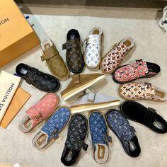 Fur Loafers, Louis Vuitton Shoes, Monogram, Couple, Sandals, Woman, Winter, Fashion, Winter Time