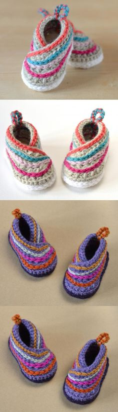Baby Kimono Shoes Crochet Pattern These adorable baby booties feature little back loops and a fun wrap design Crochet Baby Shoes, Crochet Baby Clothes, Crochet Slippers, Love Crochet, Crochet For Kids, Knit Crochet, Booties Crochet, Crotchet, Crochet Flowers