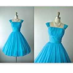 50's Chiffon Dress // Vintage 1950's Ruched Turquoise Chiffon Cocktail Party Prom Dress XS on Etsy, $104.00