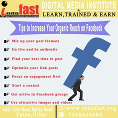 Tips To Increase Your Organic Reach On Facebook Best Time To Post, Training Programs, Digital Media, Search Engine, Digital Marketing, Finding Yourself, Ads, Learning, Organic