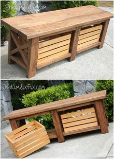 $40 X Leg Wooden Bench With Crate Storage