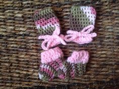 Rose Camo Mitts and Booties Baby Handmade Crochet Set