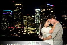 Downtown Los Angeles Engagement Photography | night shot idea
