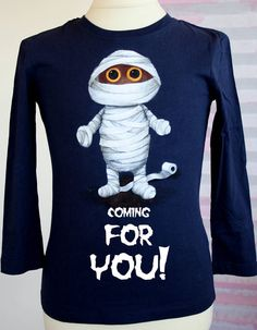 Hand Painted Halloween T Shirt Mummy T Shirt Funny Halloween Tees Personalized Boys Gift Custom Scary Kids Tee Unique One Of A Kind Tee - Halloween Makeup Mama T Shirt, Halloween Shirt, Funny Halloween, Halloween Quotes, Scary Kids, H&m Brand, October Birthday, Boys T Shirts, Gifts For Boys