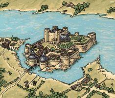 Fantasy City, Fantasy Castle, Fantasy Map, Medieval Fantasy, Fantasy World, Medieval Town, Medieval Castle, Castle Layout, Rpg Map