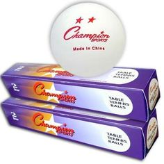Champion Sports 2 Star Table Tennis Balls, One Dozen White Ping Pong Balls [One dozen] by Champion Sports. $9.25. The Champion Sports 2 Star White Table Tennis Balls come in two boxes of six balls each. These ping pong balls are of great quality, hence the 2 Star rating. These ping pong balls are white and can be used on any ping pong table. These Champion White Ping Pong Balls are best suited for the recreational table tennis player. These are also great for soc...