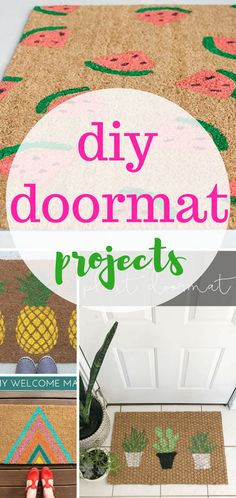 Dieses DIY beitet schon vor der Tür einen fröhlichen Empfang. #fußmatte #diy #bemalen #basteln #matte #abtreter #fußabtreter #flur #hausplatz >>I'm dying for summer! Bring it on early with one of these bright doormat DIYs! Summer, Projects, DIY, DIY doormat, doormat projects, simple doormat projects, fast doormat projects, quick crafts for summer.