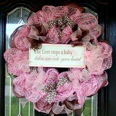 Baby Girl Deco Mesh Wreath