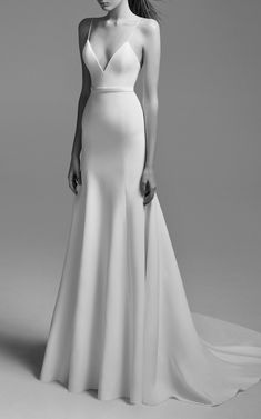 """Wedding Gown Click product to zoom - This **Alex Perry Bridal** Cameron Satin Trumpet Gown""""featuresa fitted silhouette with a low v neckline, spaghetti straps and gathered flare skirt. Formal Evening Dresses, Prom Dresses, Dress Prom, Chiffon Dresses, Bridesmaid Gowns, Ladies Dresses, Fall Dresses, Long Dresses, Evening Gowns"""