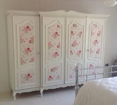 Customer commission.  Wardrobe painted in Autentico Milk with Cath Kidston Wallpaper panels.