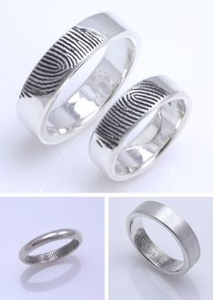Tired of plain rings? This romantic alternative of sterling silver ring is engraved with the fingerprint of your fiancé, a unique hallmark for life.