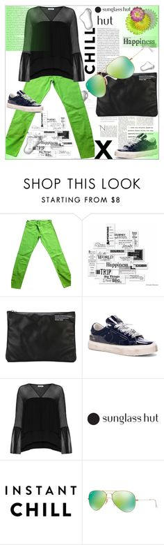 """Shades of You :Sunglass Hut Contest Entry"" by dragananovcic ❤ liked on Polyvore featuring Abercrombie & Fitch, Vellum, Golden Goose, Elizabeth and James, Ray-Ban, polyvorecontest and shadesofyou"