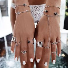 Secret stacking tips with our #WCOgirlgang boho love @gypsylovinlight, styling Silver x Onyx to perfection. Get your #WCOholiday jewel game ON >> www.wanderlustandco.com //