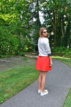 Red Skirt, Varsity Sweatshirt | Fishbowl Fashion