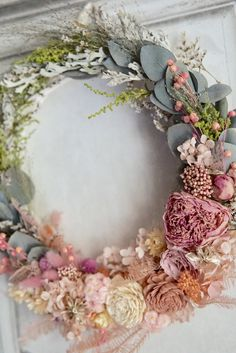 Wreath bouquet :アンティークピンクのリースブーケ&ブートニア Front Door Decor, Entryway Decor, Wreaths And Garlands, Floral Wreaths, Wedding Mood Board, Dried Flowers, Flower Arrangements, Diy And Crafts, Christmas Wreaths