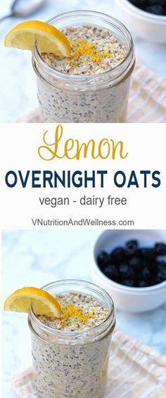 Lemon Overnight Oats. Vegan - Dairy Free. From www.vnutritionandwellness.com