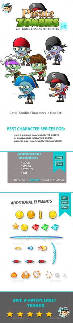 6 Pirate Zombies 2D Game Character Sprites (Sprites)