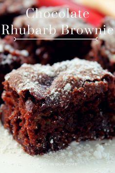 Nadire Atas on Chocolate Desserts Chocolate Rhubarb Brownie Rhubarb Desserts, Rhubarb Cake, Just Desserts, Healthy Rhubarb Recipes, Rhubarb Cookies, Rhubarb Muffins, Rhubarb Bread Pudding, Rhubarb Ideas, Strawberry Rhubarb Recipes
