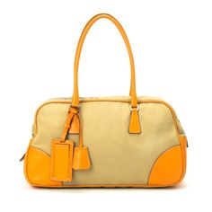 80de807ae78c  Prada beige cotton  Boston  Bag. Available at lxrco.com for  399