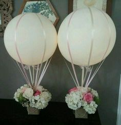New baby shower flowers centerpieces hot air balloon ideas Wedding Balloon Decorations, Wedding Balloons, Wedding Centerpieces, Wedding Table, Diy Wedding, Trendy Wedding, Modern Centerpieces, Wedding Flowers, Wedding Ideas