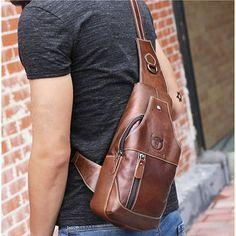 Genuino cuero comercial casual bolsa pectoral al hombro en bandolera bolsa para hombres
