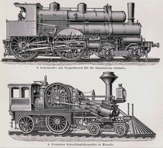 Locomotive Train Steam Engines Engineering Chart Edwardian Germany For Framing 1906