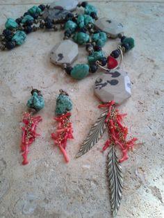 jasper, turquoise, coral, lava