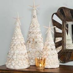 Shell Trees -  Set of 3    Coastal shell Christmas trees - could be a DIY for a beachy Christmas theme