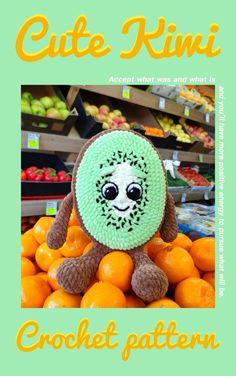 CROCHET KIWI PATTERN, Amigurumi crochet fruit pattern, Plush baby kiwi, Stuff Fruits tutorial