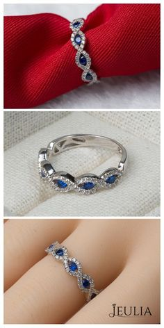 Rhodium Plated Sterling Silver Sapphire Wedding Band For Women #jeulia
