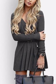 This sexy mini dress is the must-have in your wardrobe this season. features V neck and long sleeves, simple and flatting. Team with a belt and an ankle boots f
