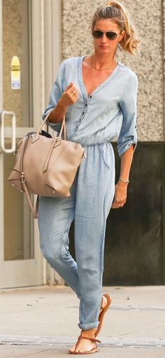 A denim jumpsuit is the ultimate off-duty piece that is an easy ...