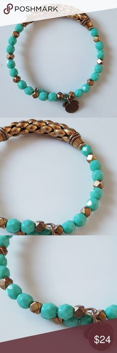 ALEX AND ANI ✴ ALEX AND ANI  ✴ Summer Turquoise Wrap ✴ Slight oxidation on the gold metal Alex and Ani Jewelry Bracelets