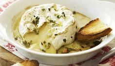 Wine-baked camembert with crostini toasts. The perfect sharing food. Wine Recipes, Baking Recipes, Baked Camembert, Delicious Desserts, Yummy Food, Charcuterie And Cheese Board, Baked Cheese, Appetisers, Appetizer Recipes