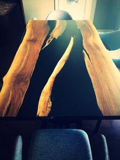 Live Edge Walnut Black River resin table