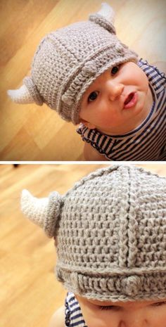 Little Viking Hat - SO cute! #crochet #pattern #babies okay, so it's crocheting, not knitting. It's still pretty darn cute