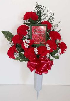Memorial Flower Vase with Photo Holder - Red Carnations