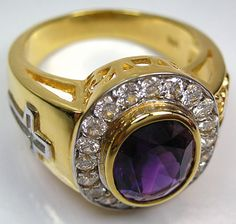 Bishop rings are not only for bishops. You are able to add a bit of mystery to your look with this Amethyst Bishop Ring. It features a real precious amethyst! Gold And Silver Rings, Yellow Gold Rings, Bishop Ring, Mens Pinky Ring, Pinky Rings, Gents Bracelet, Amethyst Stone, Love Ring, Bridal Jewelry Sets
