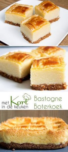 Recipe for a Bastogne Butter Cake (Dutch Bastogne Buttercake). Dutch Recipes, Sweet Recipes, Baking Recipes, Cake Recipes, Sweet Desserts, No Bake Desserts, Baking Bad, Sweet Pie, Snacks