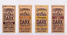 """""""Oliver Ward & Nick Jarvie, year Design students at Massey University, Wellington, New Zealand redesigned Cadbury, a New Zealand brand dark chocolate. He took inspiration from Cadbury signage and advertising of old chocolate packagings. Retro Packaging, Craft Packaging, Food Packaging Design, Packaging Design Inspiration, Coffee Packaging, Bottle Packaging, Packaging Ideas, Clever Packaging, Organic Packaging"""