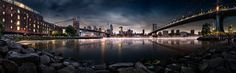 Brooklyn Cove Panorama - This is a panoramic view of the little cove in the middle of Brooklyn Bridge Park..  This location has a beautiful view of the city and is framed by the Brooklyn and Manhattan Bridges.  Always wanted to try this full panorama.  Ended up getting kicked off the rocks just before sunset, but fortunately, I was able to sneak back on during blue hour and snap some shots.  This ended up being a six-image stitch at about 60 second exposure times.  Took some liberties…