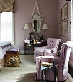 Gary McBournie Hollywood Regency purple bedroom  Jh like the piping on chairs, interesting shaped chairs