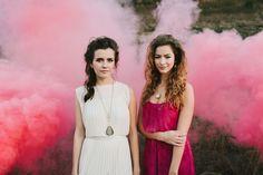 smoke bomb, colorful desert wedding, bold wedding colors