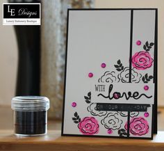 Luxury Handmade Monochrome and Pink Floral Birthday Card