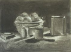 Compressed Charcoal   still life value study-erased drawing